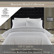 Marriott Hotel Collection 1200 TC Quilt Set - 1 Fitted Sheet + 1 Quilt Cover + Pillow Covers