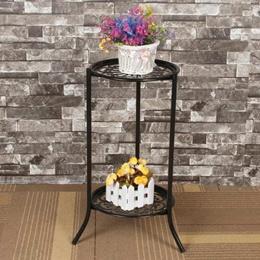 0363300264 Two-layer Elegant Metal Plant Stand Shelf Flower Pot Rack Holder Black