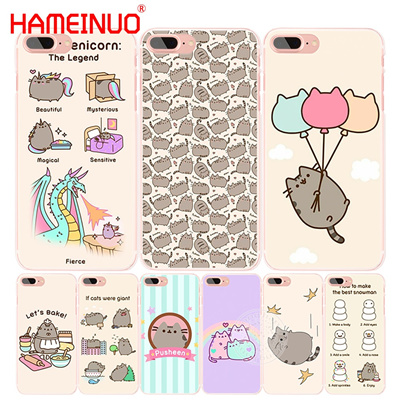 more photos 86e2e a1b1e HAMEINUO Pusheen the cute cat cell phone Cover case for iphone 4 4s 5 5s SE  5c 6 6s 7 8 X plus