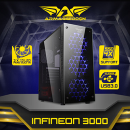 Infineon Series ATX Gaming Computer Casing. Free 3 LED FANs! 4 x SSD Slots,Hi-Grade Safety Glass Anti Scratch/Dmg,Shock Protection,Cable Management,See-Thru Side Panel, Extreme Cooling Airstream.