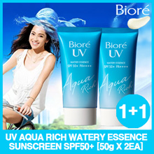 1+1 [Biore] UV Aqua Rich Watery Essence Sunscreen 50g x 2ea set (SPF50) 2019 Renewal version