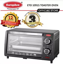 EuropAce 1200W Toaster Oven 9 Litres ETO 1091S/ Bake Tray and Wire Rack - 1 YEAR WARRANTY