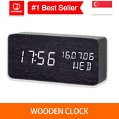 💖LOCAL SELLER💖[Wooden LED Clock] High Quality Alarm Clocks with Thermometer - 1stshop singapore