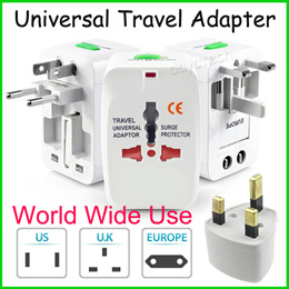 World Wide Use Travel Adapter ◇ Wall Plug Charger with Dual USB Ports / Go to US UK EU CHINA AU SG