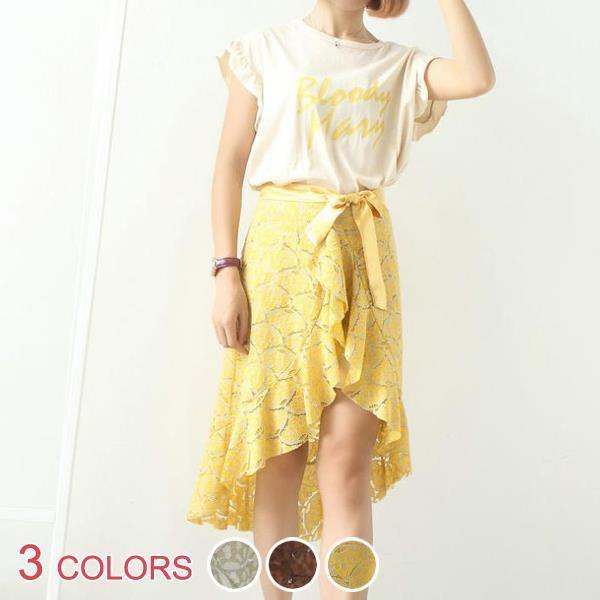 【OML】英字プリントフリルTシャツ+リボン結びレーススカートセットアップ :全3色【お届けまで約10日】_OML5400