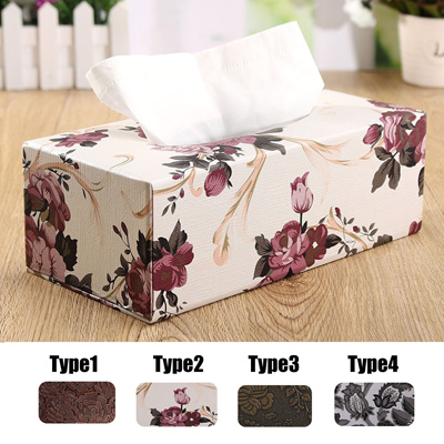 Elegant Flower Pattern Tissue Holder Case Leather Tissue Paper Box Home Decor New Year Gifts