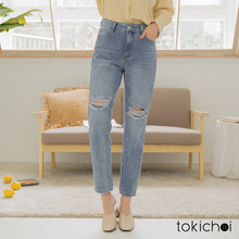 TOKICHOI - Low-key Personality Scratching White Straight Jeans-190315