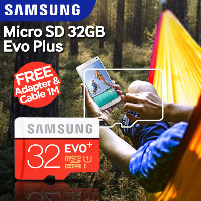 SAMSUNG MEMORY MICROSD 32GB EVO PLUS Free Adapter SD Card dan Cable Ikawai 1m Deals for only Rp210.000 instead of Rp210.000