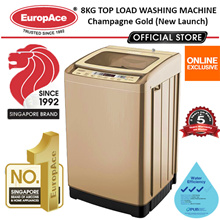*Online Exclusive* EUROPACE 8kg Top Load Washing Machine (Champagne Gold) - TEMPERED GLASS COVER