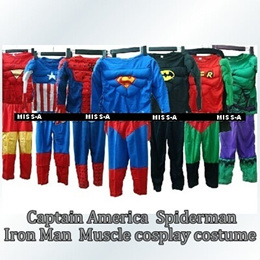 Captain America Superman Iron Man  Muscle cosplay costume/een clothes/ children gift/Christmas gift/