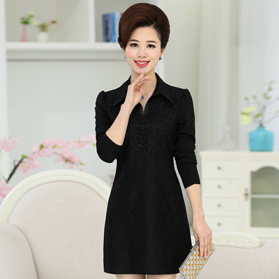 e8157147043e 17 years old ladies winter lace dress mother dress Lapel with long sleeved  cashmere thickened in