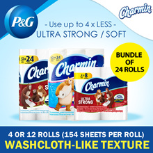Charmin Ultra Strong/Soft Bundle of 24 Rolls (4 Rolls x 6 Packs or 12 Rolls x 2 Packs)