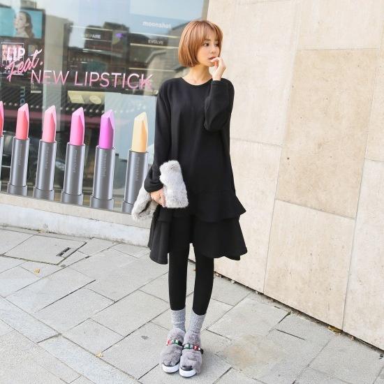 クルリクエンミホッイジュンフレア起毛ワンピース ニット・ワンピース/ 韓国ファッション