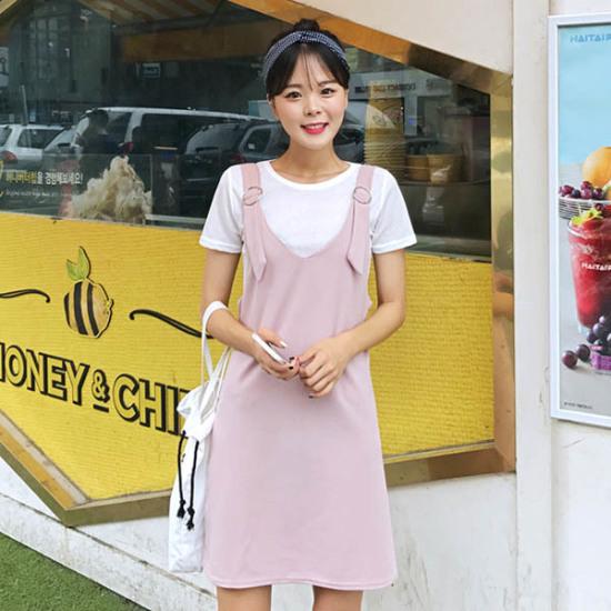 あっかんべーショップ半そでリンウォンピスセット 綿ワンピース/ 韓国ファッション