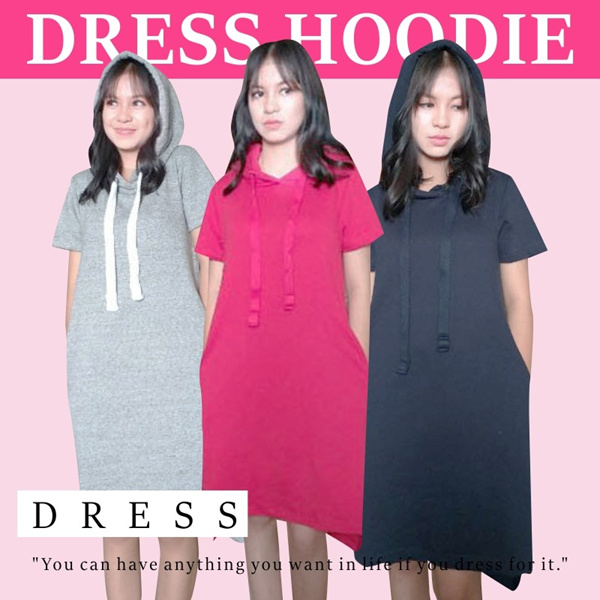 Hoodie dress solid styles-Ladies hoodie daily dress up Deals for only Rp99.000 instead of Rp110.000
