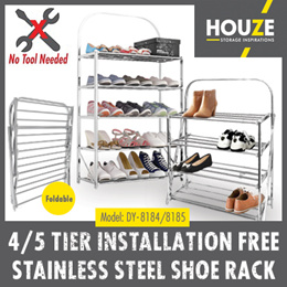 ♦ 4 / 5 Installation Free Stainless Steel Shoe Rack ♦ Sturdy N Durable ♦ Space Saving ♦ Foldable