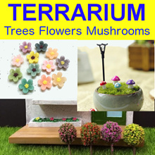 ♡ TREE FLOWERS and MUSHROOMS ♡ Terrarium Accessories ♡ Miniature Christmas Tree ♡ Miniature Tree