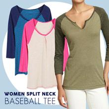 BRANDED! Women Split Neck Baseball Tee 18 Warna - kaos wanita - baju wanita - atasan - blouse