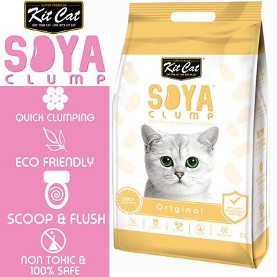 Kit Cat Soya Clump Litter 7L (the future of cat litters) Original .eco-friendly / flushable _csan