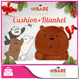 [We Bare Bears™] Cushion and Blanket - Grizz