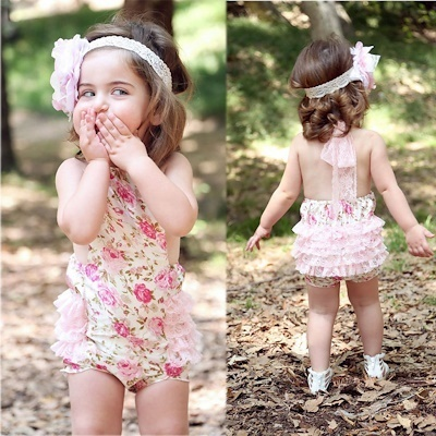 3ad865a66f0e Cute Baby Kids Girls Princess Lace Floral Romper Shabby Flower Romper  Sunsuit