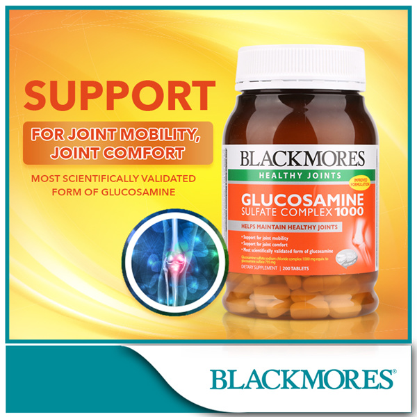 [BLACKMORES Official e-Store] Glucosamine Sulfate Complex 1000mg 200tabs Deals for only S$73 instead of S$0
