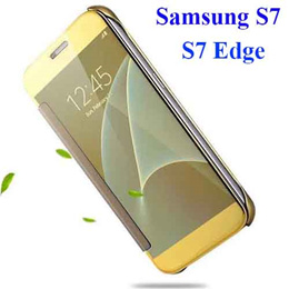 SMART COVER Luxury Clear View Mirror Flip Electroplating Phone Cases for Samsung Galaxy S7 S7 Edge S7 Edge Plus Hard Covers