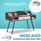 【NORLAND】Writing Desk/Scandinavian Computer Table/Save Space Office Table/Simple Modern Office Desk