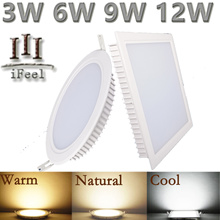 (12-15% OFF) ★6W 9W 12W LED Recessed Ceiling Flat Panel Light Down light Round Square