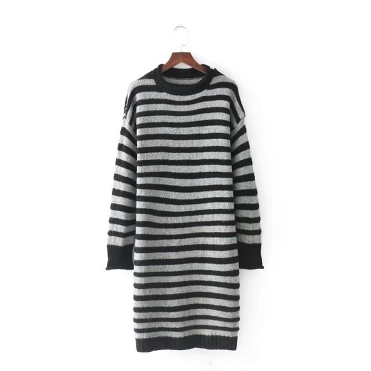 2017秋冬服新型、ゆったりコードで長め下地シャツストライプ巻ながら羊仔毛针セーターを編むのワンピース
