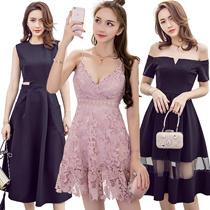 【31/5 new】Black Dresses/Korean style Slim dress/Sexy/Strapless/Halter/Little black dress/Harness dre