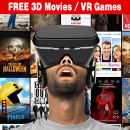 ★★ FREE 3D / IMAX Movies ★★ Virtual Reality VR Headset 3D glasses. FREE APP for movies and games.