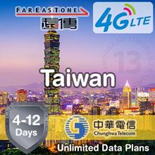 IDC ★ Taiwan SIM Card 4-12 Days ★ Chunghwa FarEasTone ★ Unlimited 4G LTE Data Prepaid Plans