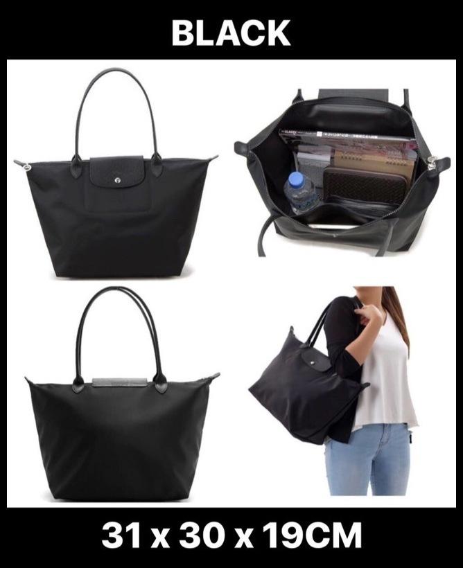 actual size. prev next.  SALE Longchamp Le Pliage Neo Long Handle Large  Black 1899 578 001 7694085d6f