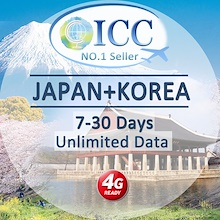 ◆ ICC◆【Japan + Korea SIM Card· 7-30 Days】❤Up to 20GB* 4G LTE/3G + Unlimited data❤ Plug and Use