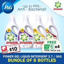 [Dynamo] FREE $5 x 4 GRAB Voucher! Bundle of 8 Dynamo Power Gel Liquid Detergent Bottled / Suitable for Clothes / Fabric