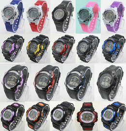 LED Waterproof Sports Watch with 7 Colorful Light Effect School KIDs Gift Digital Rubber Strap Watch