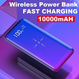 Dual USB Wireless Power Bank*10000mah QI Wireless Charger Power Bank /Charging PowerBank