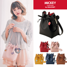 Gracegift-Disney Mickey Minnie ChipnDale Drawstring Cylinder Bag/Women/Taiwan Fashion