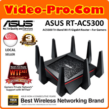 Asus RT-AC5300 ROG Rapture Wireless-AC5300 Tri-Band Gaming Router, Fortified Frontline Network Security, Simul Gaming and VPN, 1.8Ghz Quad Core Power. Local 3 Years Warranty!