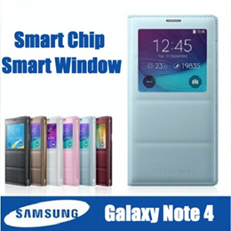 Original Samsung Smart Flip Leather Case cover casing For samsung galaxy note 4 N9100