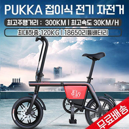 PUKKA 접이식 전기 자전거 /무료 배송 / 모터출력240W/ 최고속도 30KM/h / 전후륜 디스크브레이크/
