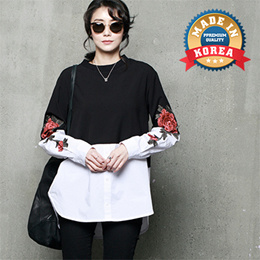[HALUMAYBE][FREE SHIPPING]A296 Flower Embroidered Blouse