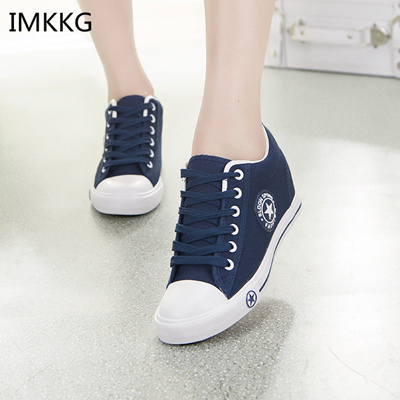 ef880d562 Summer Sneakers Wedges Canvas Shoes Women Casual Shoes Female Cute White  Basket Stars Trainers 5 cm