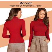 ATTITUDE JEANS Maroon High-Neck T-Shirt Women