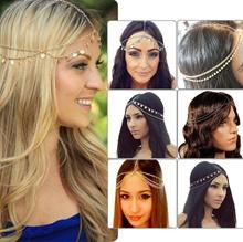 golden  Head Chain Headband Head Piece Hair band