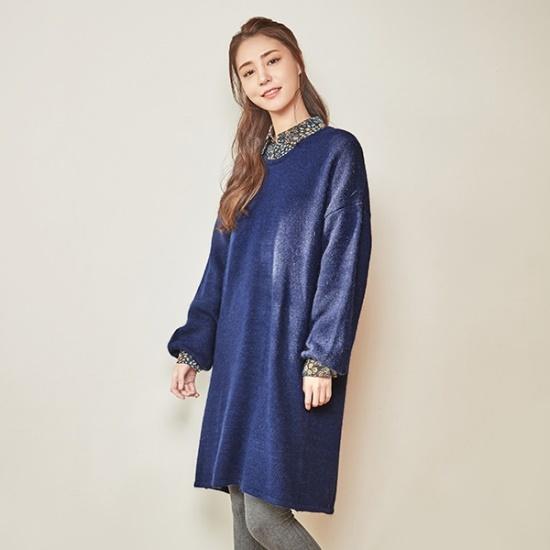 ナインNAINスクプネクアンゴラニット・ワンピースOP3476 面ワンピース/ 韓国ファッション