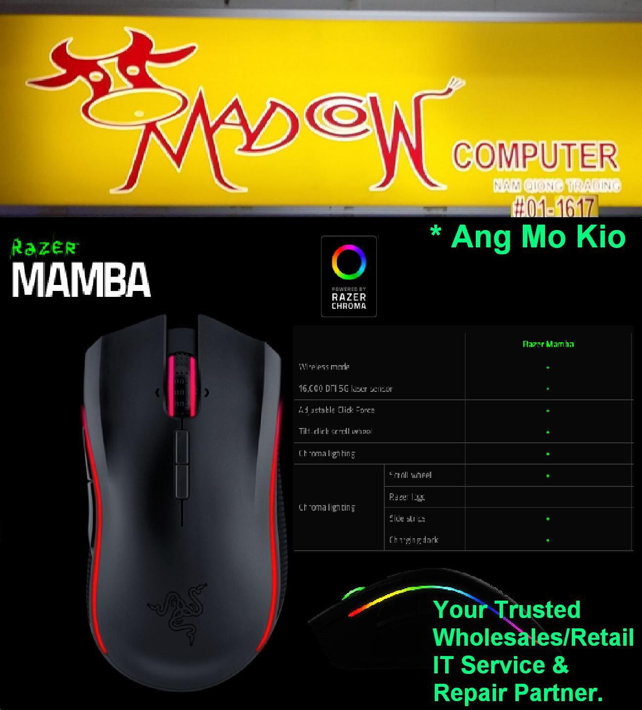 Qoo10 Razer Mamba Chroma Computer Game 5g Wireless Gaming Mouse Actual Size Prev Next Wired Rgb Ergonomic Lighting 16000dpi