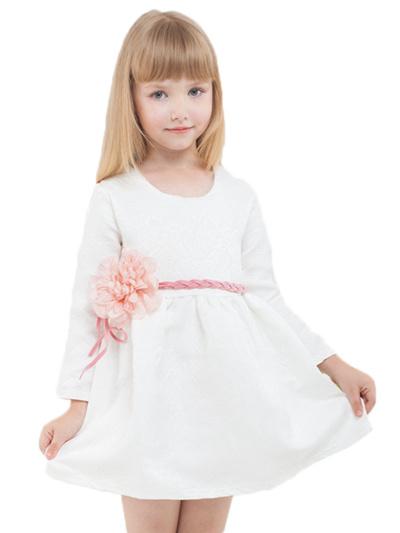 d34a74c5a79d Qoo10 - Solid Color Flower Belt Long Sleeve Bubble Dress For Girls ...