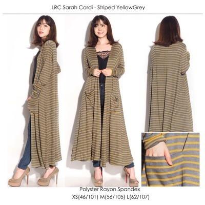 LRC Sarah Cardi Stripe Yellow Grey